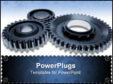 PowerPoint Template - Three gears meshing together over white background