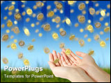 PowerPoint Template - Coins falling to hands over blue sky background.