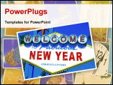 PowerPoint Template - collage with some pictures and postcards with merry christmas and happy new year wishes and objects