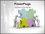 PowerPoint Template - People collect puzzle. 3D image. Isolated illustrations