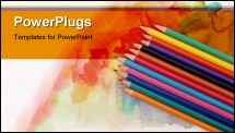 PowerPoint Template - Color photo of a set of pencils on watercolor