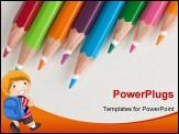 Color pencils in a row close up