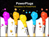 PowerPoint Template - Bristle brushes full of different colored paints on white