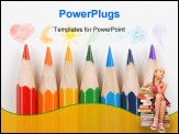 PowerPoint Template - crayons with drawings on a white background
