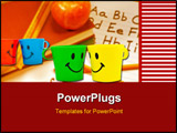 PowerPoint Template - Multi-colored bright cups with drawing in a kind of smile