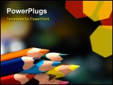 PowerPoint Template - macro photo of sharpened colored pencils in black background