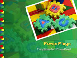 PowerPoint Template - Colorful blocks and plastic alphabets on colorful wooden background