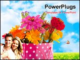 PowerPoint Template - Colorful garden bouquet in cheerful giftbag isolated over white