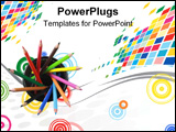 PowerPoint Template - photo of different coloured pencils in a contaner.