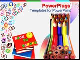 PowerPoint Template - Vivid colors over white in stacked pencil composition