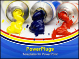 PowerPoint Template - colorful paint ; blue red and yellow coming out of tubes