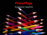 PowerPoint Template - ottom view of colored pencils tower isolated over black background ** Note: Slight graininess, best