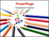 PowerPoint Template - Beautiful color pencils on a white background