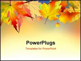 PowerPoint Template - Colorful autumn leaves background. EPS 8 vector file included