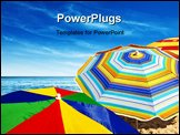 PowerPoint Template - Detail of colorful sunshades in the beach on a sunny summer day