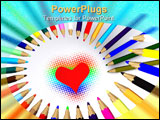 PowerPoint Template - color pencils around heart. 3D on white