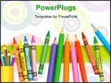 PowerPoint Template -  bunch of crayons, some colored pencils and a ruler make a nice edge or border design for your back
