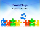 PowerPoint Template - multi-colour puzzle pieces combined representing solution concept