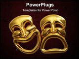 PowerPoint Template - A 3d rendering of the classic comedy-tragedy theater masks isolated on white with a clipping path