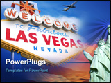 PowerPoint Template - elcome to las vegas sign with plane flying overhead in las vegas *** Note, slight graininess, best