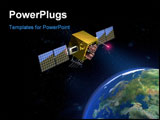 PowerPoint Template - Communication satellite and planet earth. CG illustration
