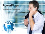 PowerPoint Template - Cell phone conversation in a corporate environment.