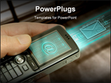 PowerPoint Template - Technology concept of the communication. The cell phone transmit through the are important data.