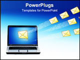 PowerPoint Template - Laptop and email over blue sky. Communication concept.