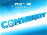PowerPoint Template - blue word community - letter o added by a globe