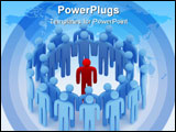PowerPoint Template - a multiple 3d blue man with one in red in center of the groupe