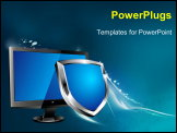 PowerPoint Template - LCD computer screen with shiny blue and silver shield depicting protection All elements are grouped and on individual layers in the vector file for easy use.