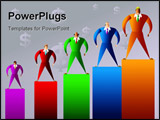 PowerPoint Template - colourful executives with different sales results - concept illustration