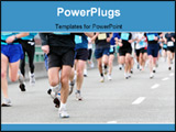 PowerPoint Template - long distance runners in close-up shallow focus motion blur