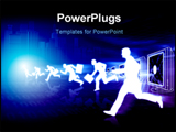 PowerPoint Template - Businessmen running compete each other in ebusiness virtual world