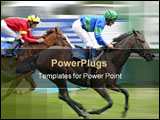 PowerPoint Template - Two horses racing at speed with blurred background