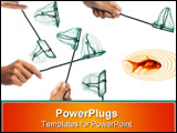 PowerPoint Template - all trying to catch the only fish in the water