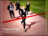 PowerPoint Template - Image of business race with winner in front