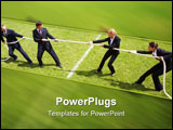 PowerPoint Template - Businessmen and businesswomen playing tug of war