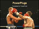 PowerPoint Template - Two boxers go toe to toe in the ring.