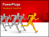 PowerPoint Template - 3d illustration of running men over white background