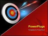 PowerPoint Template - one blue arrow splitted with a red arrow hitting the center of a target 3d render over black blue and red background
