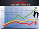 PowerPoint Template - ine graph indicating the winer out beating two competitors and business men with giving each other