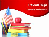 PowerPoint Template - Composition of the school supplies, American flag and an apple isolated on white