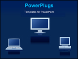 PowerPoint Template - Vector icons of the digital equipment on blue