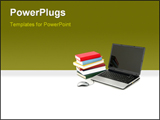PowerPoint Template - laptop and stack of books