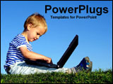 PowerPoint Template - Young boy with a laptop