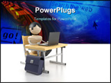 PowerPoint Template - A boy sits at the computer. 3d model