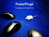 PowerPoint Template - Mouse looks frightened as it looks into its computer analogues
