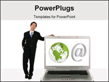 PowerPoint Template - oung business man holding laptop to his left with internet sign and 3d globe on the screen represen