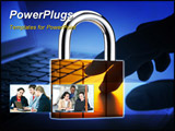PowerPoint Template - padlock superimpose onto laptop internet security concept
